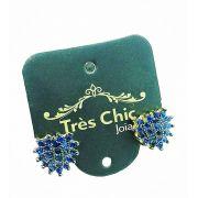 Brincos Safira Azul Zirconias Banho Ouro 18k 3752