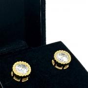 Brincos Solitário De Zirconia Lapidação Brilhante Banho De Ouro 18k 2135