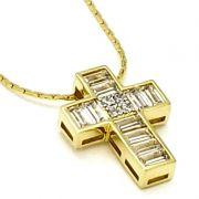 Cordão Com Cruz De Zirconias Baguete Cravejada Banho De Ouro 18k 2585