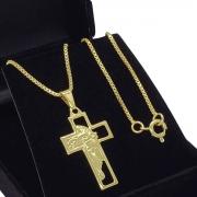Cordão Com Cruz Face De Cristo Banho De Ouro 18k 1130