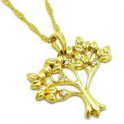 Cordão Com Pingente Árvore Da Vida Cravejado De Zirconias Banhados A Ouro 18k 1294