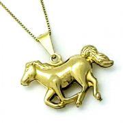 Cordão Com Pingente Cavalo A Galope Banho Ouro 18k 2940