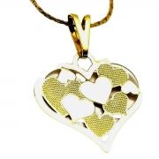 Cordão Com Pingente Coração Decorado Banho De Ouro 18k 1657