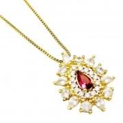 Cordão Com Pingente Cristal Rubelita E Zirconias Banho Ouro 4150