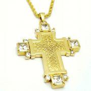 Cordão E Pingente Cruz Com Zirconias Banhados A Ouro 18k 593