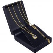 Colar Pingente Gota De Zirconia Banho De Ouro 18k 1300