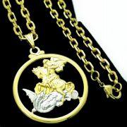 Cordão Com Pingente Medalha De São Jorge Banho De Ouro 18k 4732 4640