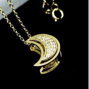 Cordão Pingente Meia-Lua Cravejado Caixa Dupla Prata Em Banho De Ouro 18k 1666