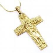 Cordão Com Pingente São Francisco Cruz Papa Francisco Banho De Ouro 18k 1560