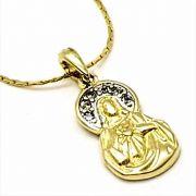 Cordão Com Sagrado Coração De Maria Cravejado  Banho De Ouro 18k 2658