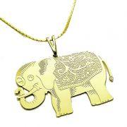 Cordão E Pingente Elefante Banho De Ouro 18k 1658