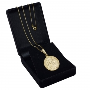 Cordão Medalha São Francisco De Assis Banho De Ouro 18k 2291