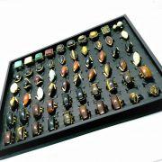 Kit 5 Anéis Femininos Pedra Natural Banhado Ouro Atacado Revenda 4709