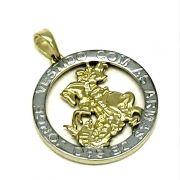 Pingente Medalha De São Jorge Banho De Ouro 18k 4725