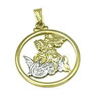 Pingente Medalha De São Jorge Banho De Ouro 18k 4732