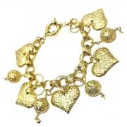 Pulseira Berloques Corações E Balões Banho De Ouro 18k 2223