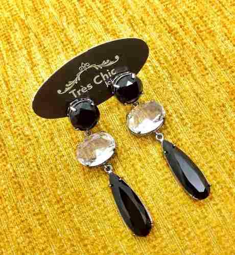 Brincos Cristal E Preto Ônix Banho Ouro 18k 2899
