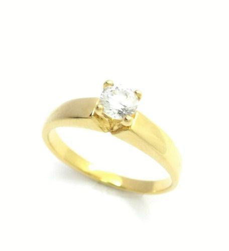 Anel Solitário Zirconia Cristal Banho Ouro 18k 2887