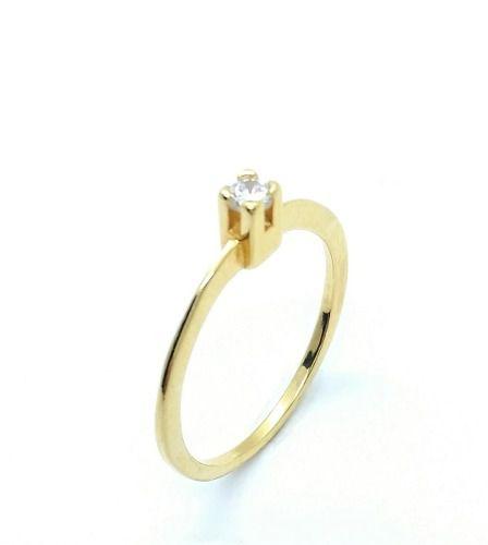 Anel Solitário Zirconia Cristal Banho Ouro 18k 2886