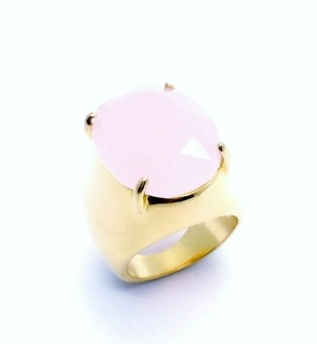 Anel Cristal Quartzo Rosa Banho Ouro 18k 2837