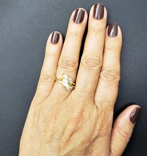 Anel Ramagem Zirconias Banho De Ouro 18k 476