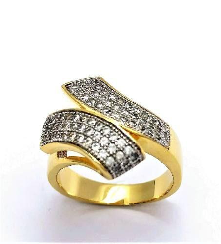 Anel Cravejado Pavé Microzirconias Faixas Diagonais Banho Ouro 18k 2642