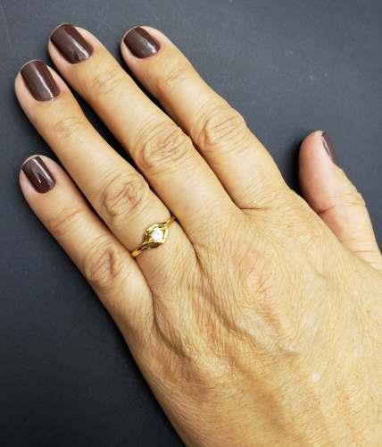 Anel De Prata Solitário De Zirconia Banhado A Ouro 18k 473