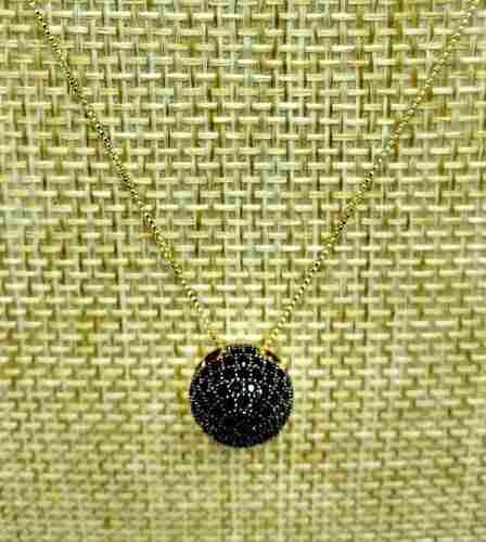 Cordão Pingente Cravação Pavé Microzirconias Banho Ouro 18k 2629