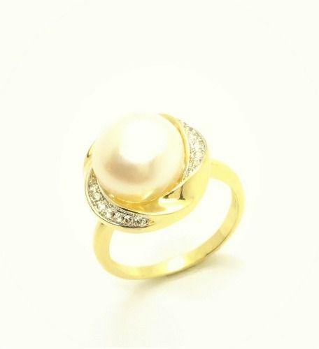 Anel Pérola Shell Com Moldura De Microzirconias Banho Ouro 18k 2623