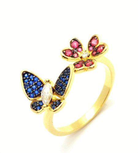Anel Borboleta E Flor Zirconias Coloridas Banho Ouro 18k 2619