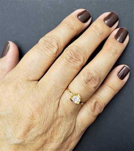 Anel Solitário Flor Com Zirconia Em Prata Banhada A Ouro 18k 473A
