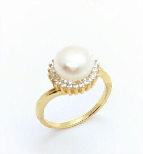 Anel Pérola Moldura Microzirconias Cristal Banho Ouro 2614