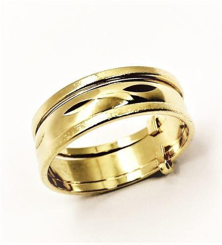 Aliança De Prata 3 Aros Em Banho De Ouro 18k 467