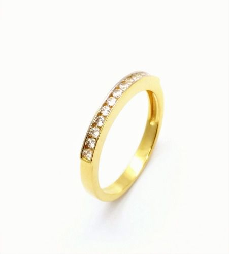 Meia Aliança Zirconias Cristal Banho Ouro 18k 2595