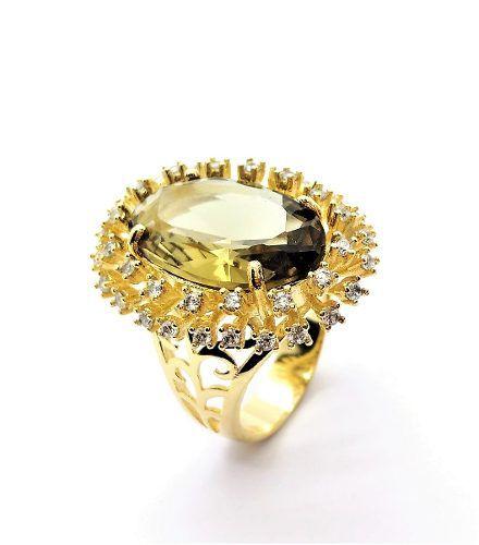 Anel Cristal Green Gold E Zirconias Banho Ouro18k 2541