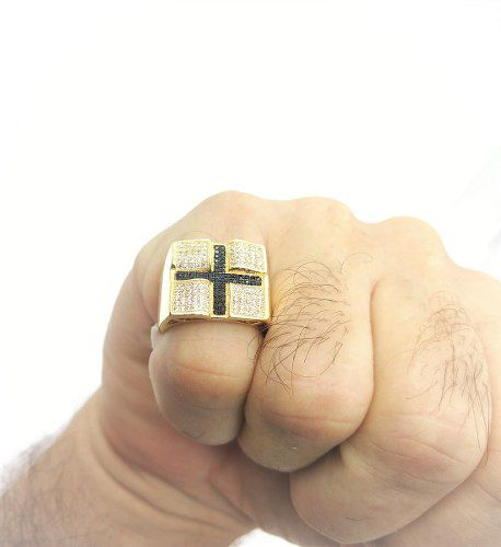 Anel Cruz Cravação Pavé Microzirconias Banho Ouro 18k 2532