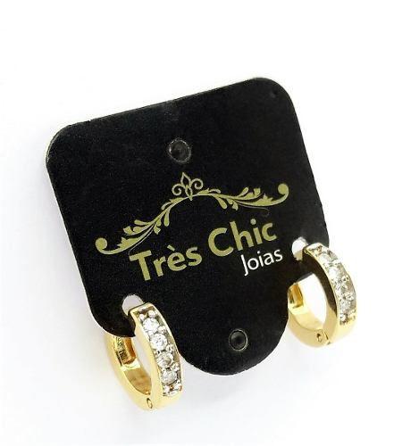 Brincos Argolas Microzirconias Fecho Tic-tac Banho Ouro 2431