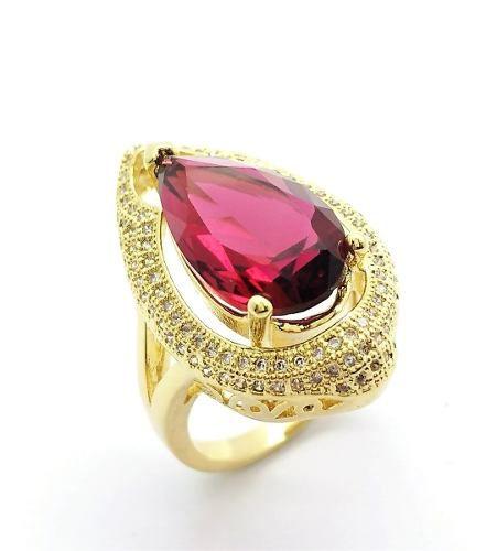 Anel Cristal Pink Rubelita E Microzirconias Banho Ouro 18k 2394