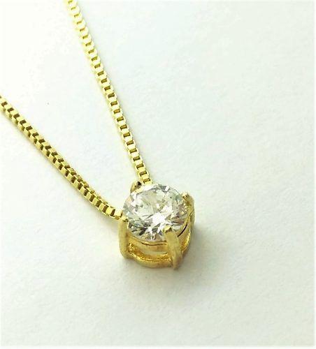 Gargantilha Ponto De Luz Cristal 40cm Banho Ouro 18k 2309