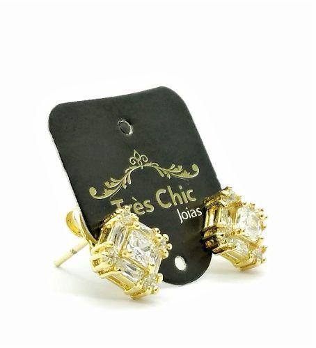 Brincos Losangos Zirconia Cristal Banho Ouro 18k 2303
