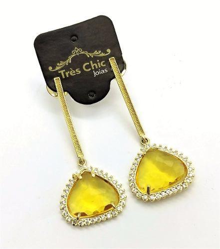 Brincos Cristal Gota Facetado Microzirconias Banho Ouro 18k 2285