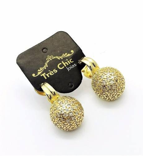 Brincos Meia Bola Diamantada Microzirconias Banho Ouro 2283