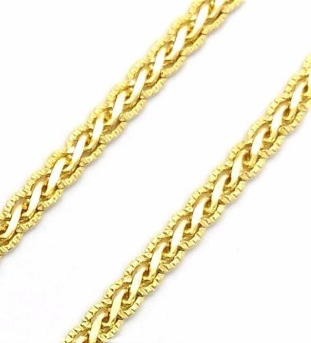 Corrente Cordão Trança Diamantada 1,5mm 45cm Banho Ouro 18k 2237