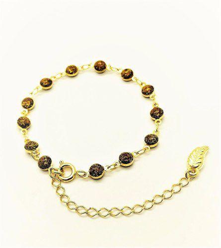 Pulseira Contas Ouro Antigo Glitter Banho Ouro 18k 2225