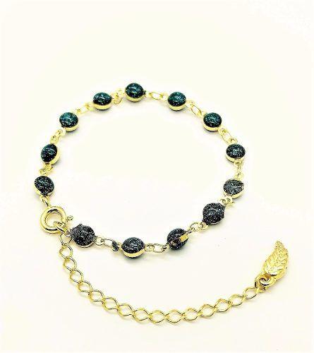 Pulseira Contas Azul Glitter Banho Ouro 18k 2224