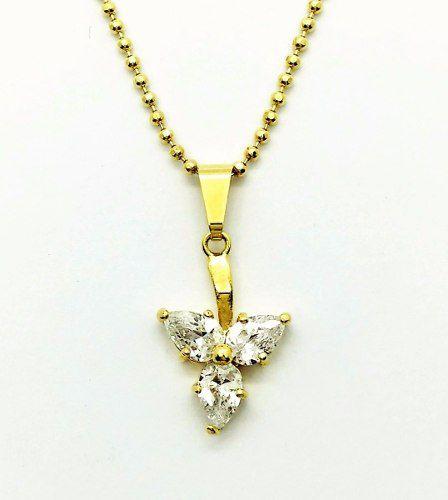 Gargantilha Bolinhas Triângulo Zirconias Banho Ouro 18k 2168