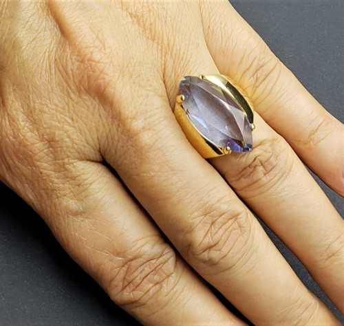 Anel De Pedra Cristal Azul Tanzanita Banho De Ouro 18k 383