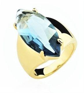 Anel Cristal Tanzanita Banho Ouro 18k 383