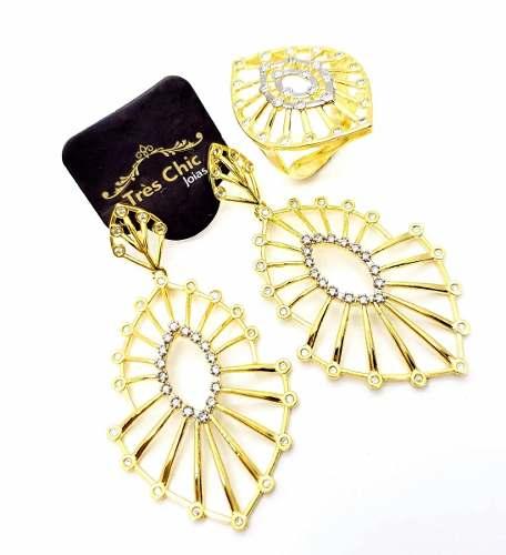 Anel E Brincos Raiados Zirconias Cristal Banho De Ouro 3730 3731