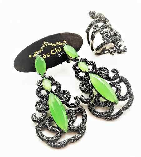 Conjunto De Anel E Brincos Verde Vela Zirconias Negras Banho Ródio 4347 4348
